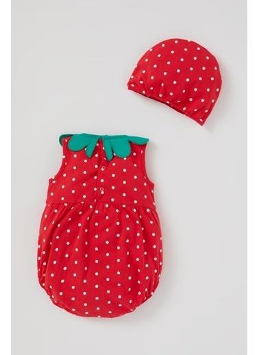 DeFacto Kız Bebek Çilek Desenli Pamuklu Tulum Takımı Kırmızı